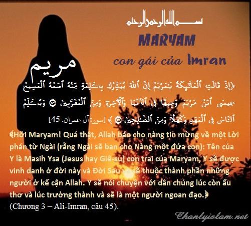 """BÀI VIẾT - THUYẾT GIẢNG AUDIO & CLIPS VIDEO: CÂU CHUYỆN """"MARIYAM"""" CON GÁI CỦA IMRAN!!!"""